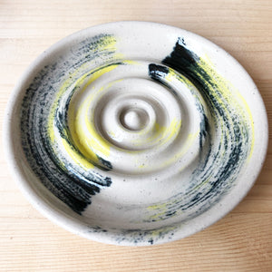 Ceramic Soap Dish - Yellow Black Brushstrokes