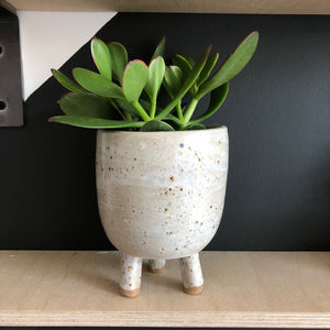 Cream Speckled Earthenware Pot with Legs