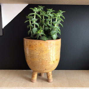 Brown Speckled Earthenware Pot with Legs