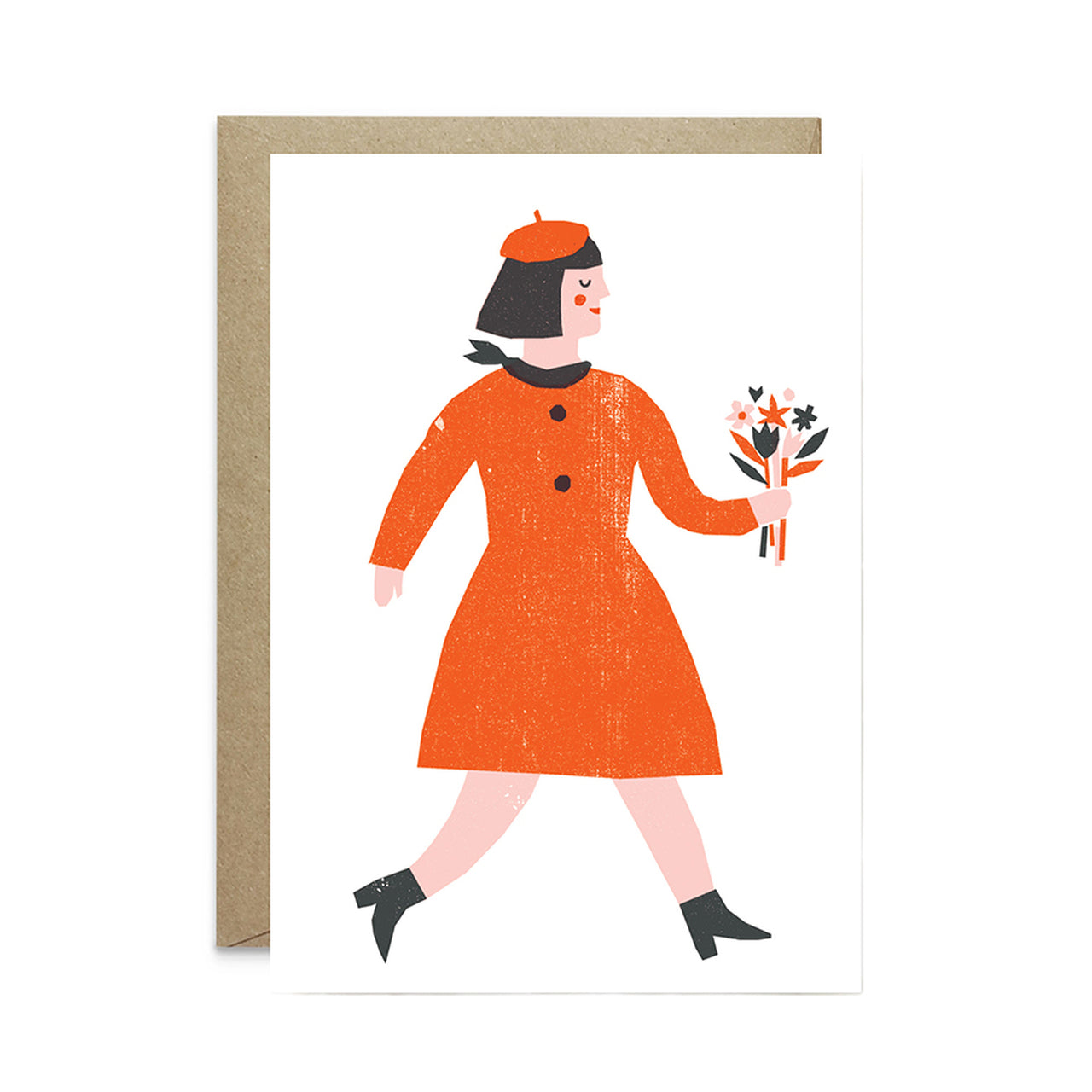 Woman with Flowers - Card