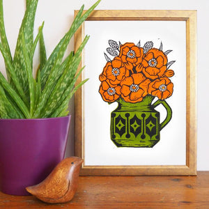 Hornsea and Sadler Flowers: Orange and Green - A4 Linocut Print