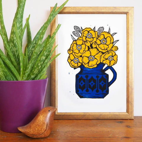 Hornsea and Sadler Flowers: Yellow and Blue - A4 Linocut Print