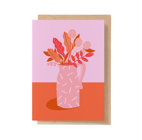 Pink Patterned Jug - Card