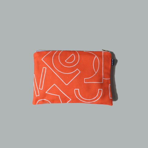Medium Pouch with Zip - Line (Tomato)