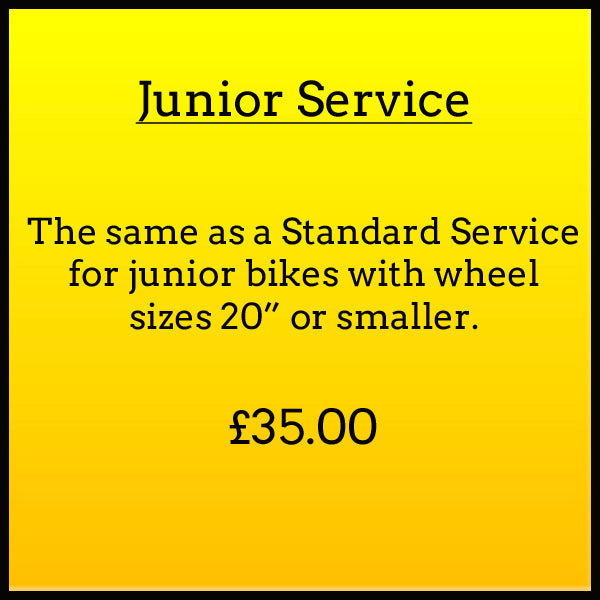 Junior Service. The same as a standard service for junior bikes with wheel sizes 20