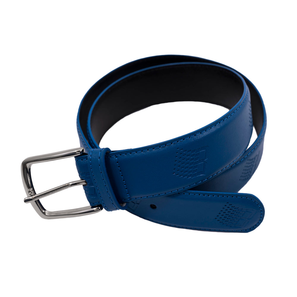 B Logo Embossed Leather Belt - Blue