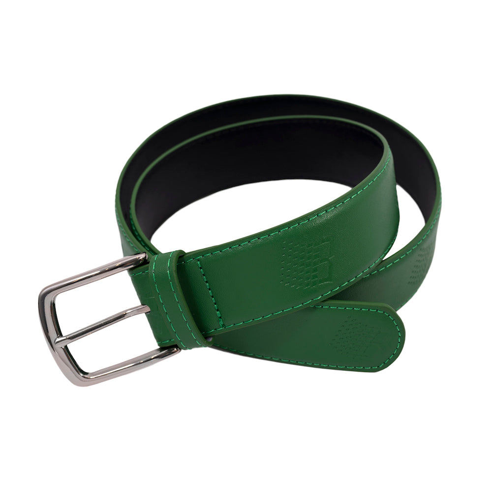 B Logo Embossed Leather Belt - Green