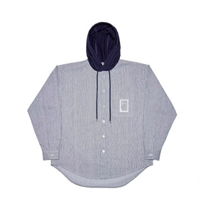 Hickory Stripes Hooded Work Shirt - Blue
