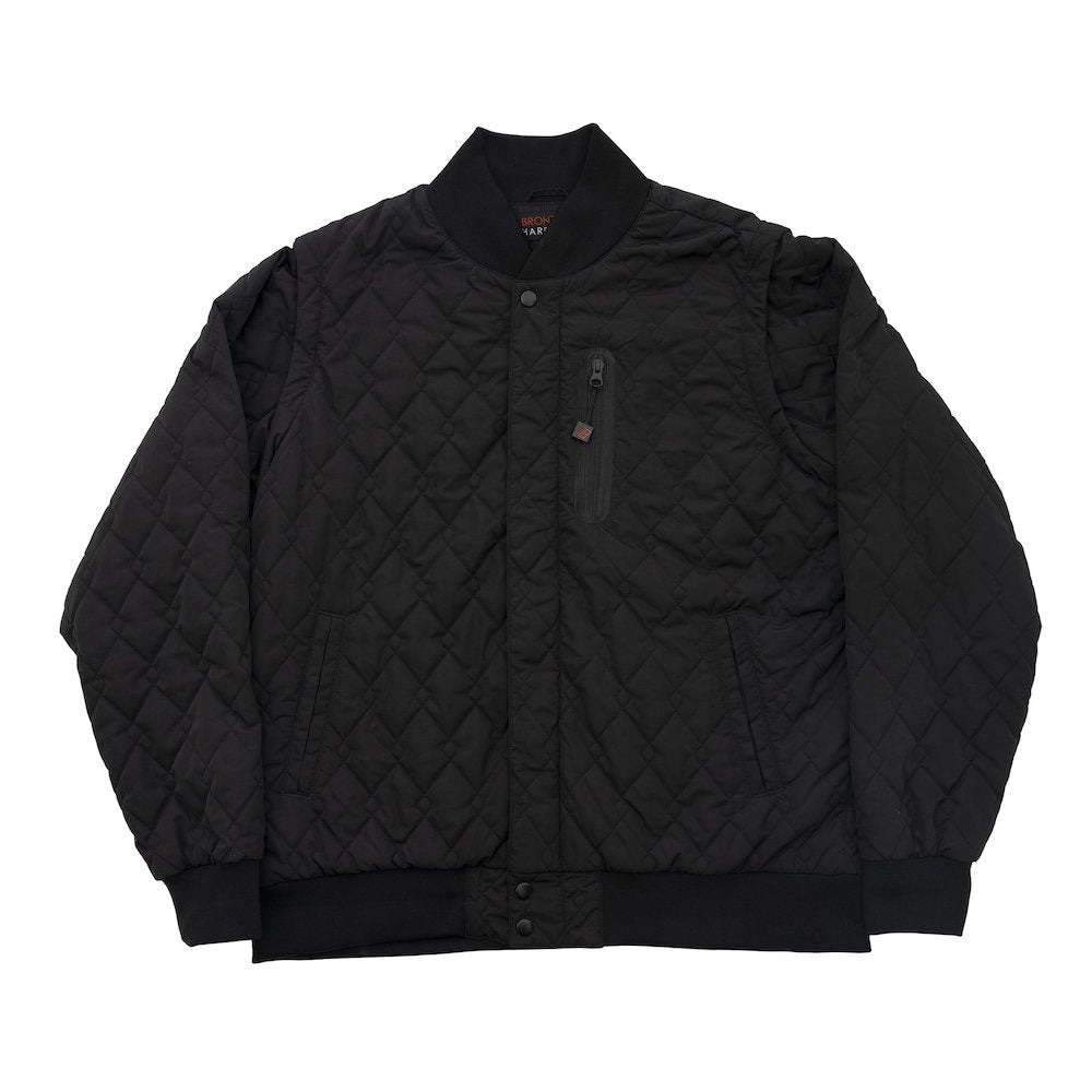 Quilted Bomber Vest - Black