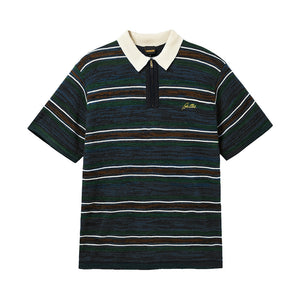 Schmidt Zip Polo Shirt - Navy/Forest/Brown