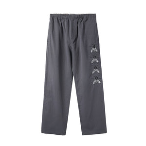 Swarm Embroidered Pants - Charcoal