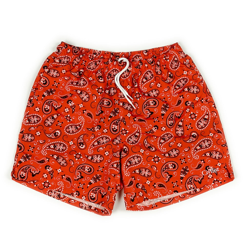 Paisley Swim Short - Red