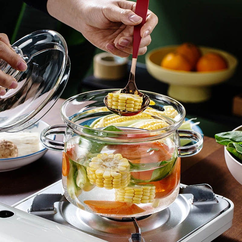 2L Transparent Glass Soup Pot Heat-Resistant Glass Bowl With Lid Instant Noodles Soup Pot Household Cooking Tools