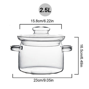 Open image in slideshow, 2L Transparent Glass Soup Pot Heat-Resistant Glass Bowl With Lid Instant Noodles Soup Pot Household Cooking Tools