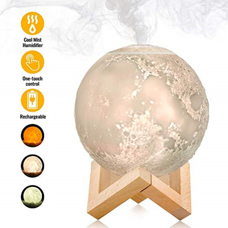 Aroma Diffuser Ultrasonic Essential Oil  | USB Full Moon Lamp Night Light