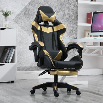 Leather Gaming Chair with Foot Rest Lift Up