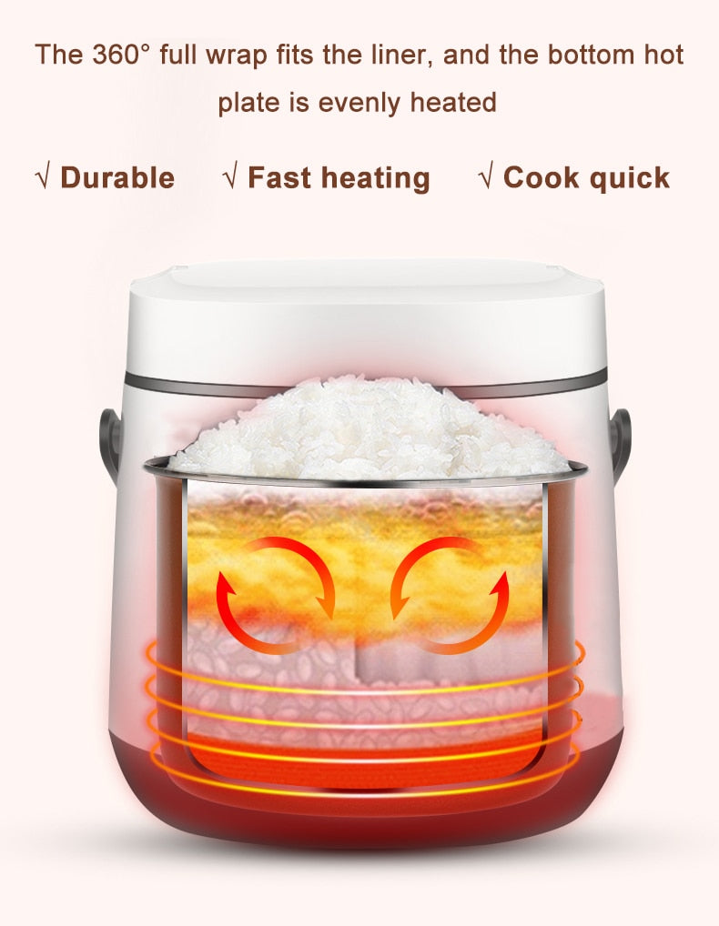 Mini Electric Rice Cooker | 2 Layers Heating Food Steamer Multifunction Meal Cooking Pot