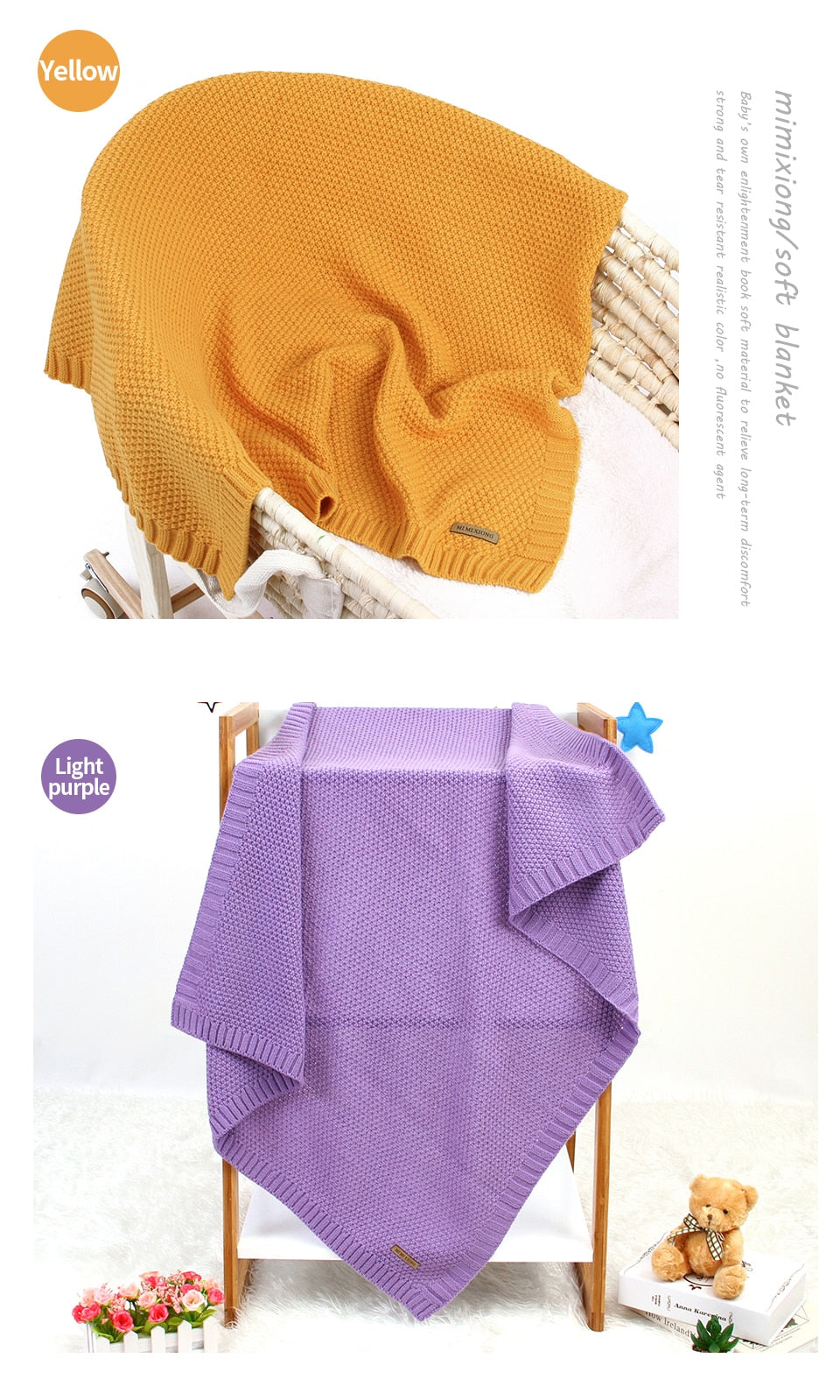 Baby Blanket Knitted Newborn Swaddle Wrap