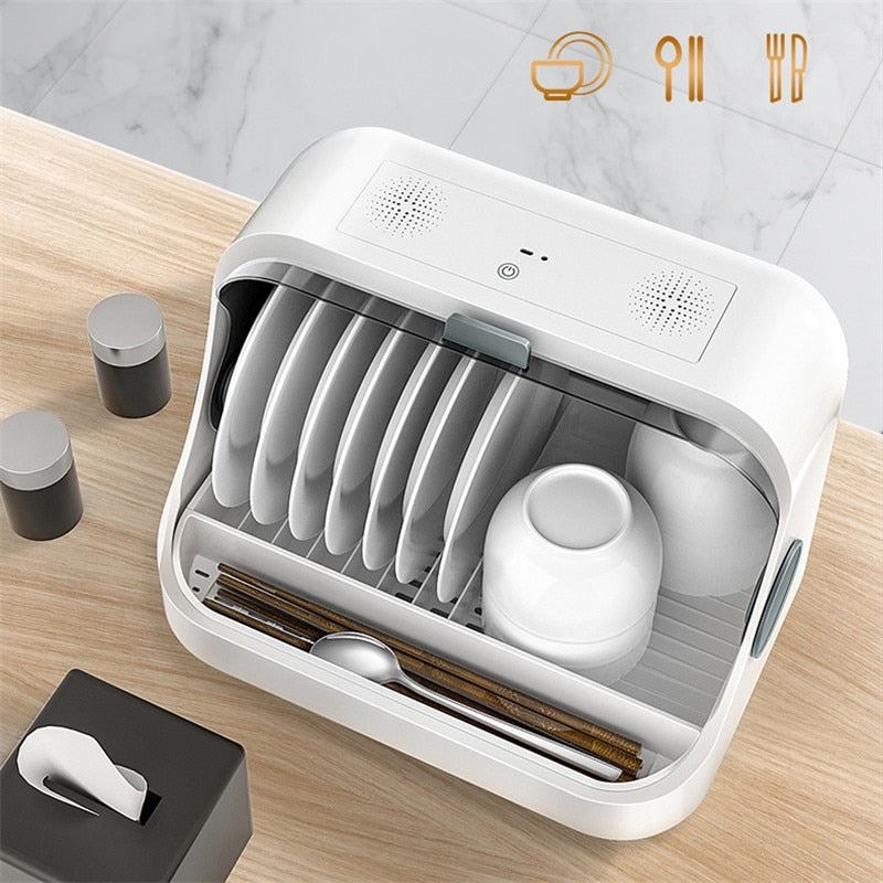 Disinfection Dish Rack Cabinet with Lids Cutlery Tray | Kitchen Drain Dish Racks Sterilized