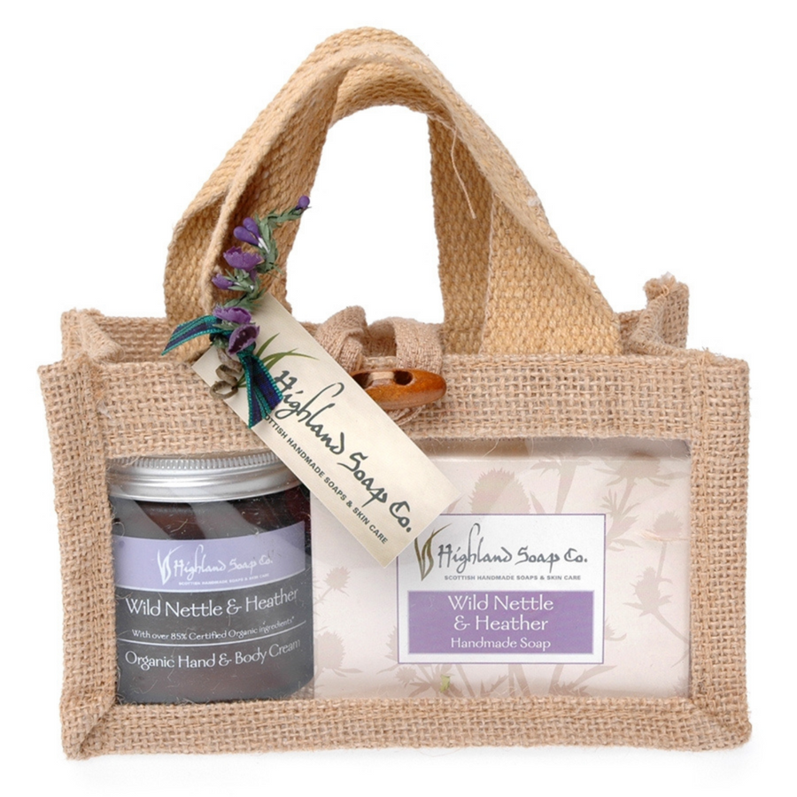 Scottish Highland Soap Company - Hand & Body Wild Nettle & Heather Cream with Soap Jute Bag Gift Set