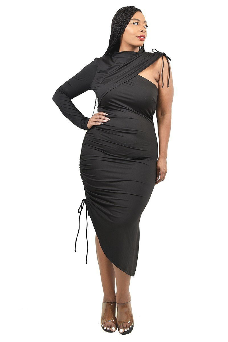 Plus One Sleeve Asymmetric Dress