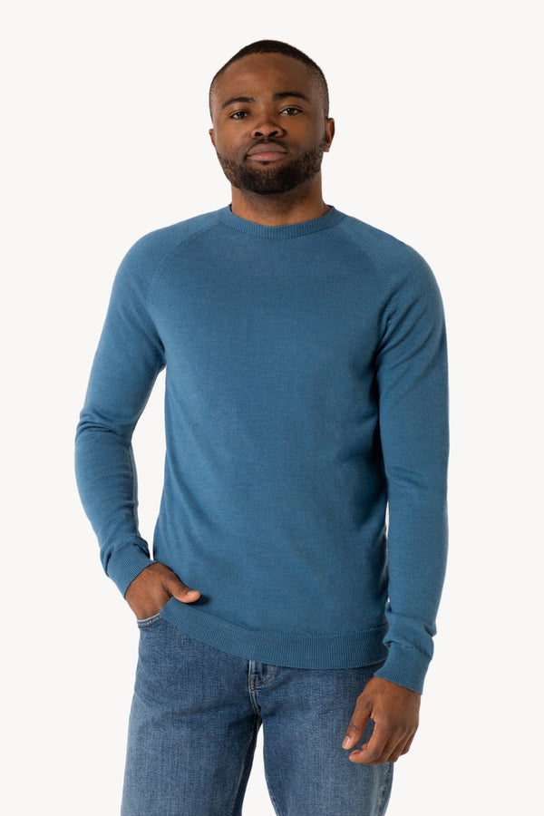 Thin Classic R-Neck Bio Merino Strickpullover | Carolina Blue