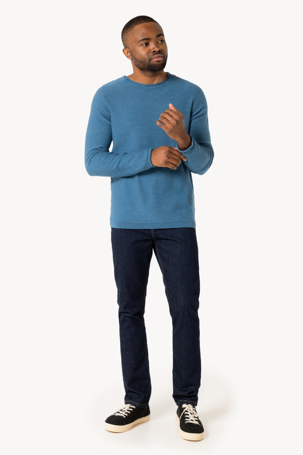 Crew neck merino knit pullover Carolina Blue