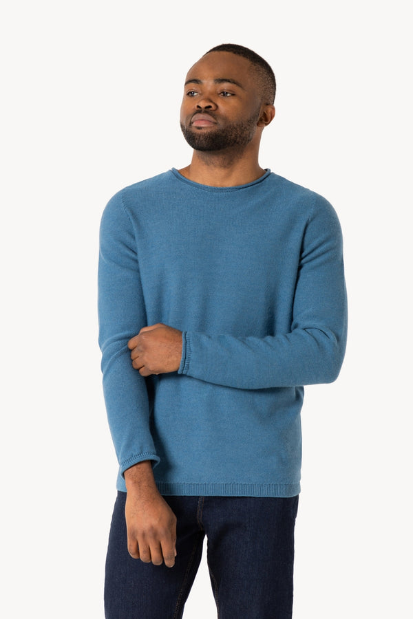 R-Neck Bio Merino Strickpullover Carolina Blue