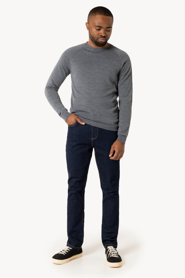 Thin Classic R-Neck Merino Strickpullover | Urban Grey