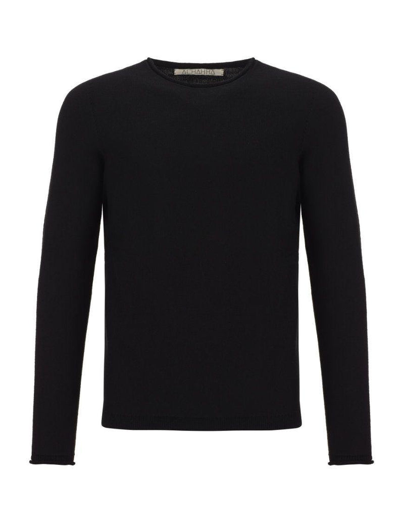 R-Neck Bio Merino Strickpullover Black