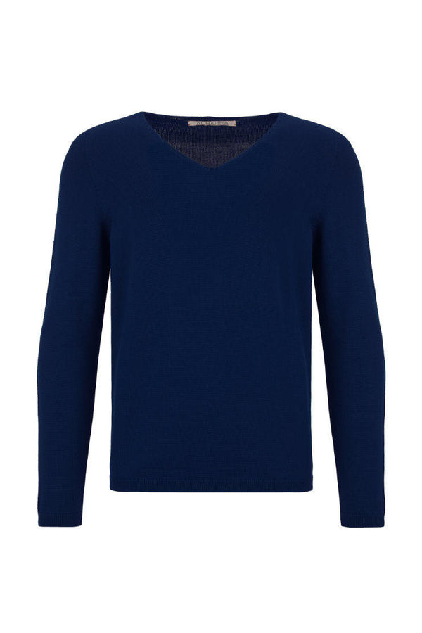 V-neck merino knitted sweater blue