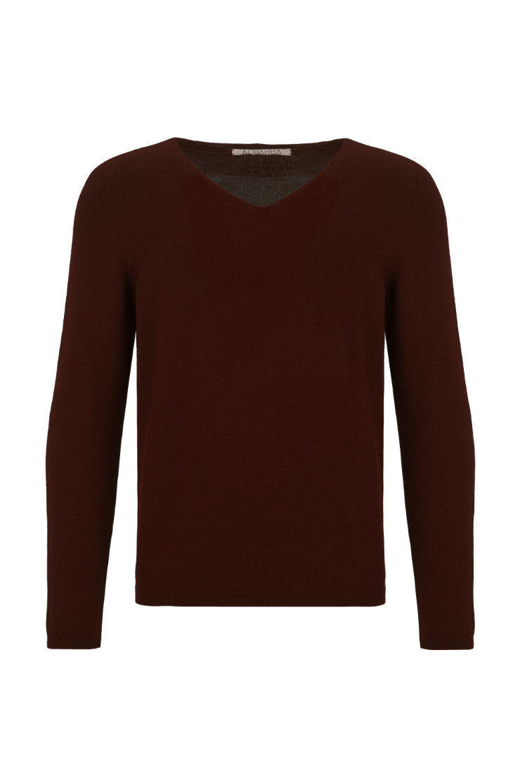 V-Neck Merino Strickpullover Brown