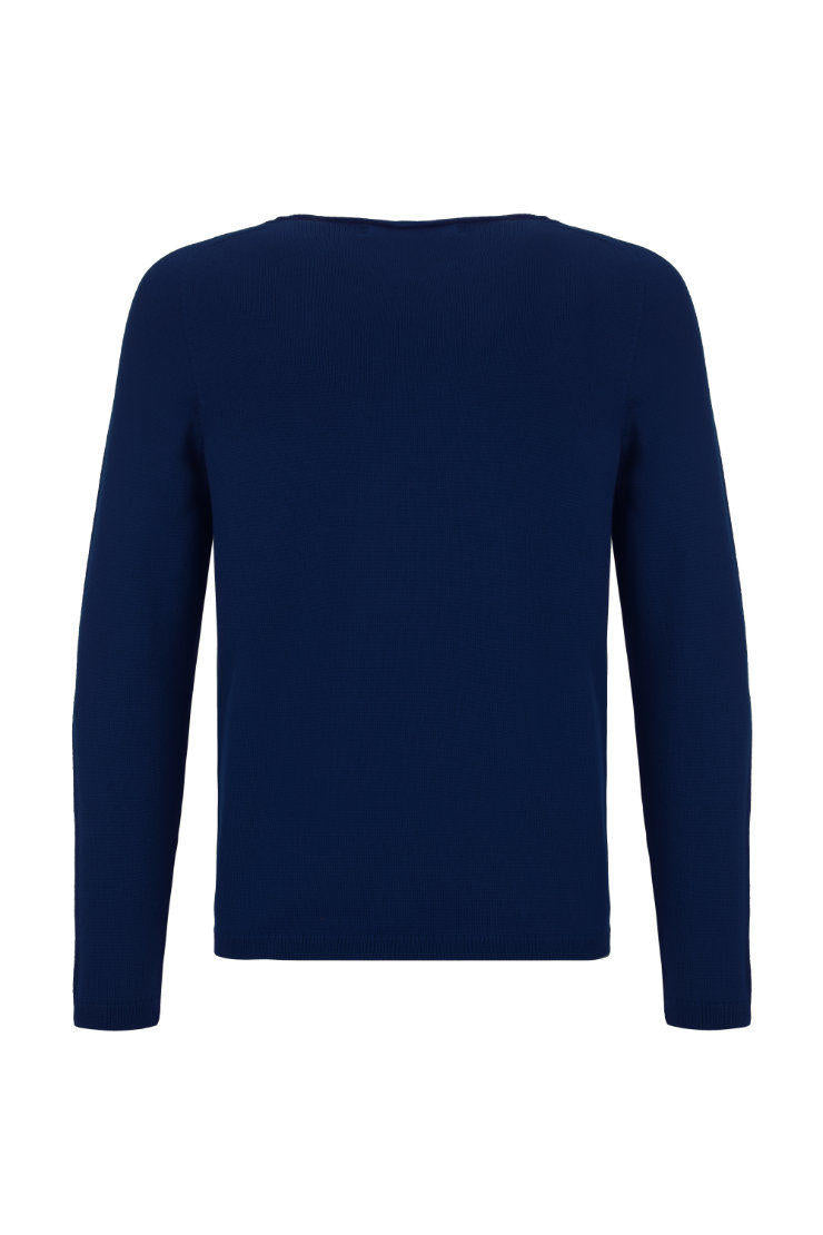 V-Neck Merino Strickpullover Blue