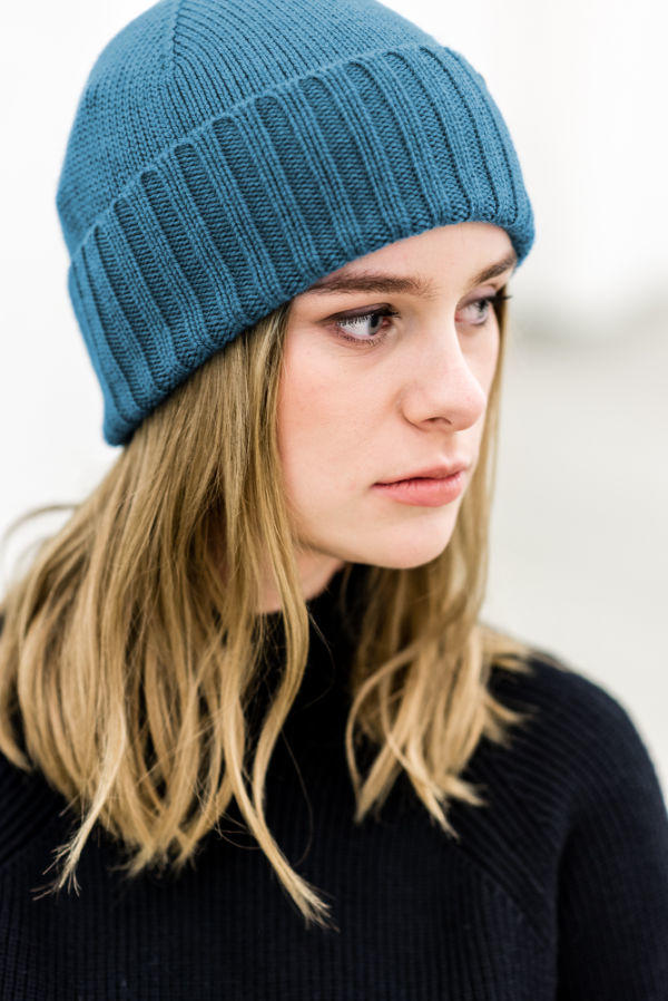 Organic merino knitted hat Seamless envelope