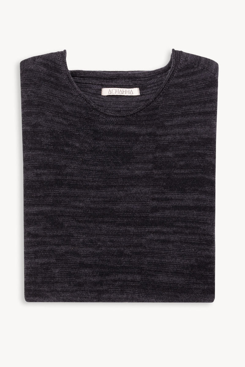 R-Neck Bio Merino Strickpullover | BlackGrey