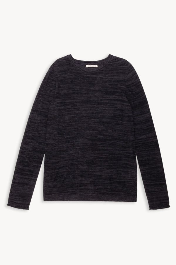 R-Neck Merino Strickpullover | BlackGrey