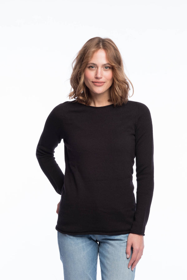Seamless Organic Cotton Jumper | Deep black