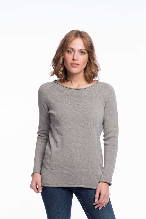 Seamless Organic Cotton Jumper | Light gray