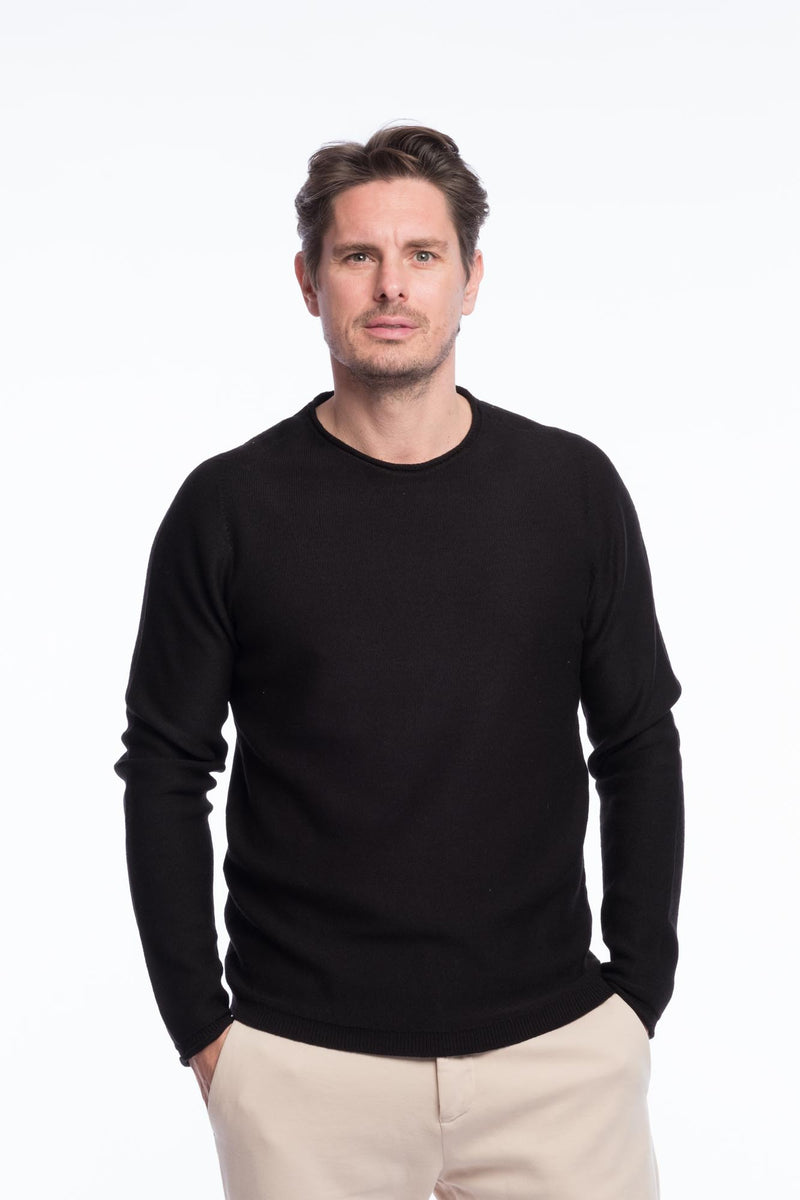 R-Neck Merino Strickpullover Black