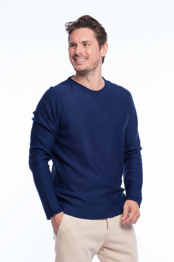 R-Neck Merino Strickpullover Blue
