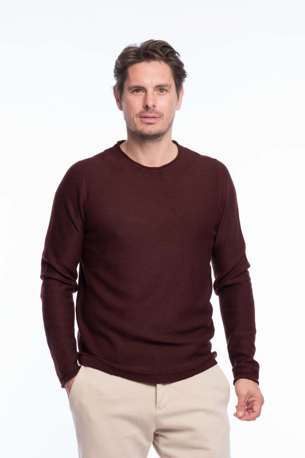 R-Neck Merino Knit Sweater Brown