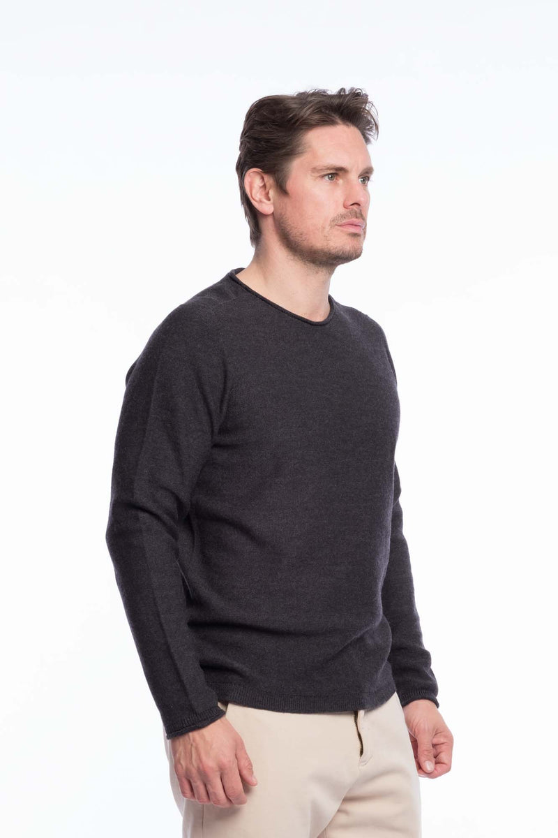 R-Neck Merino Strickpullover Grey