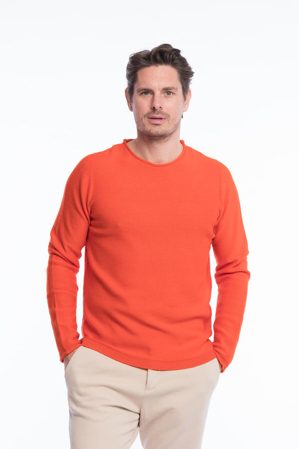 R-Neck Merino Strickpullover Orange