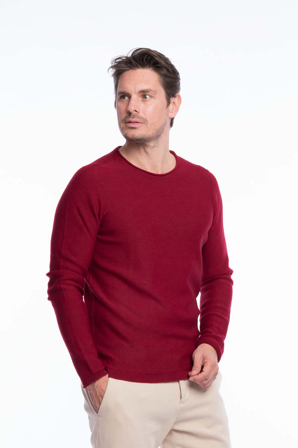 Crew neck merino knitted sweater Red