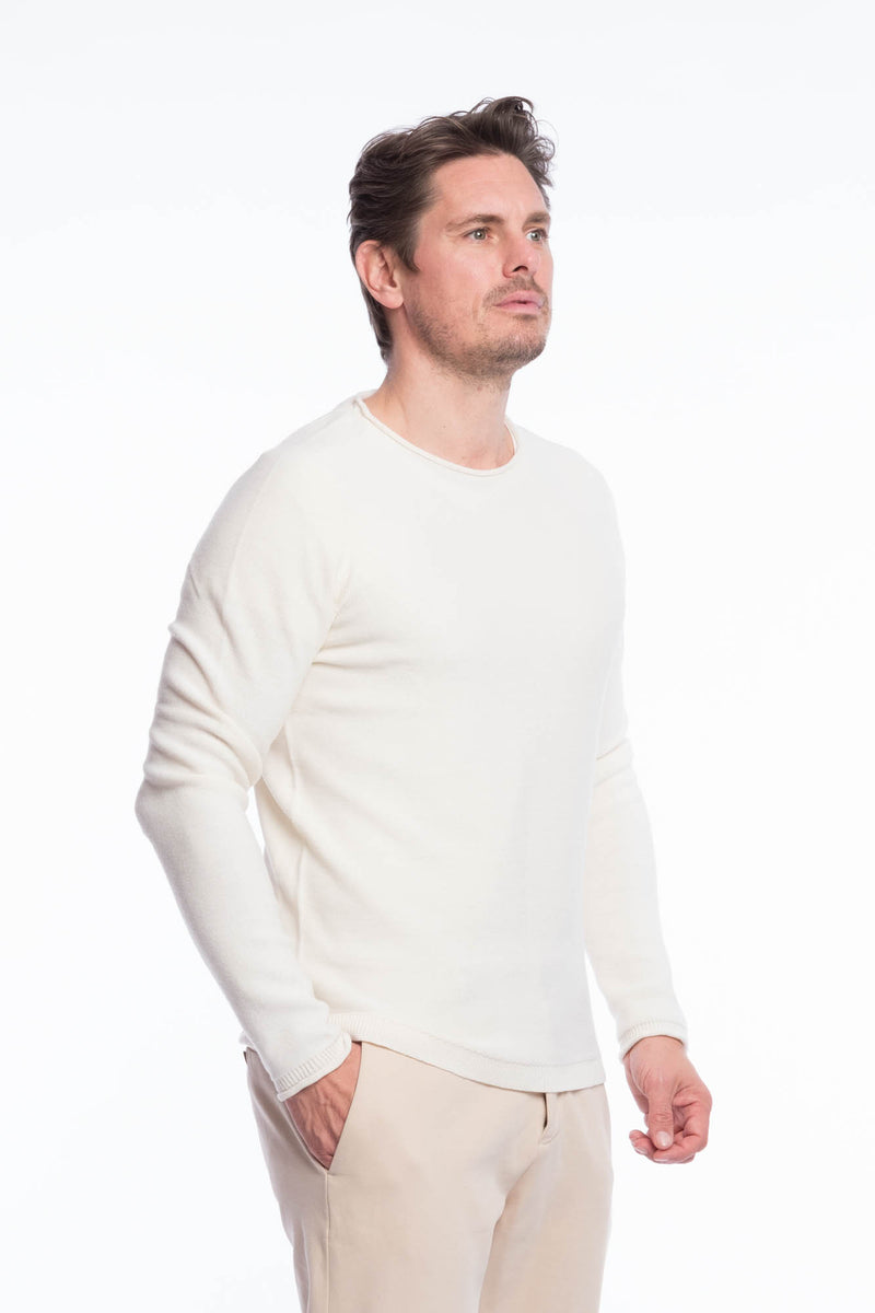 Crew neck merino knit sweater White