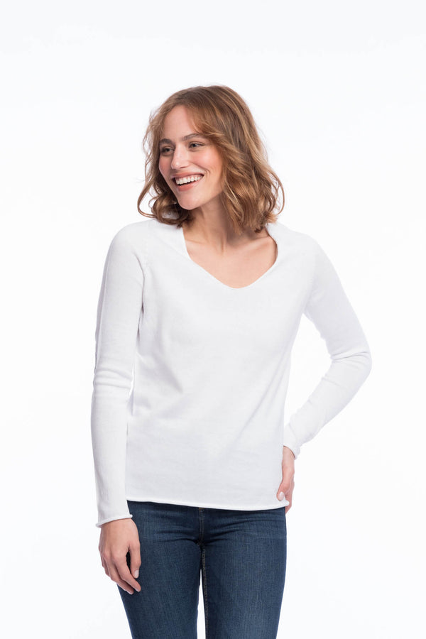 Seamless Organic Cotton Thin Knit | Brilliant white