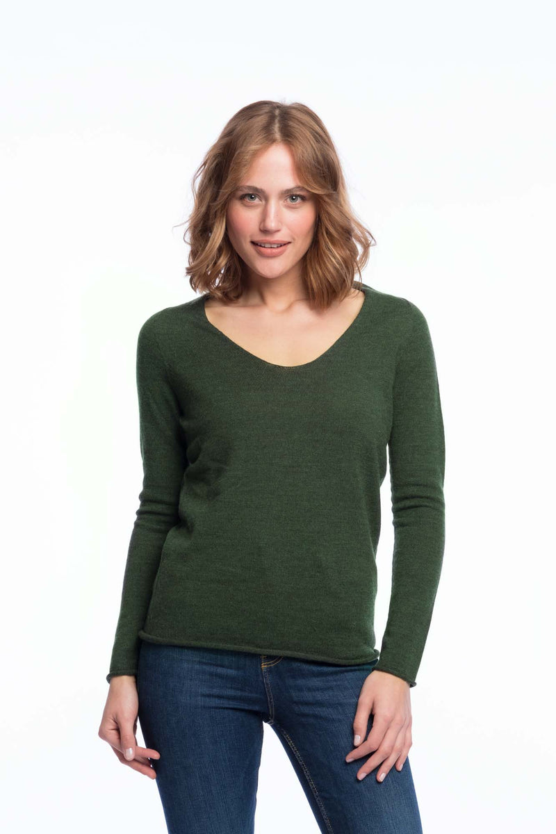 Seamless Bio Merino Thin Knit | Green Melange