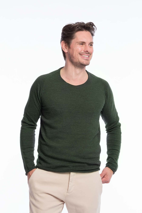 Thin Knit Bio Merino | Green Melange