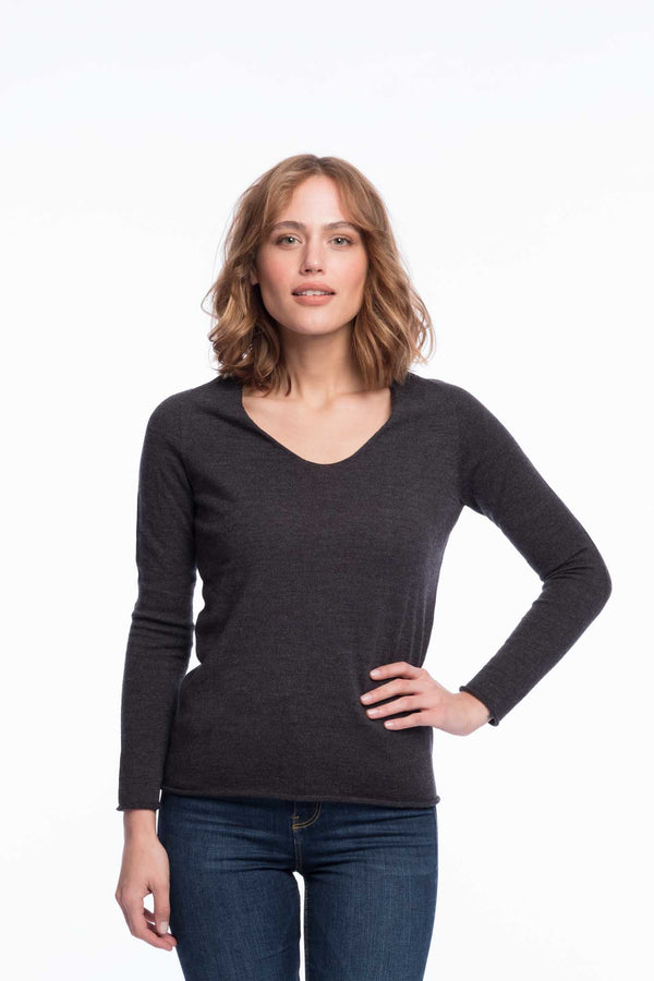 Seamless organic merino thin knit | Gray melange