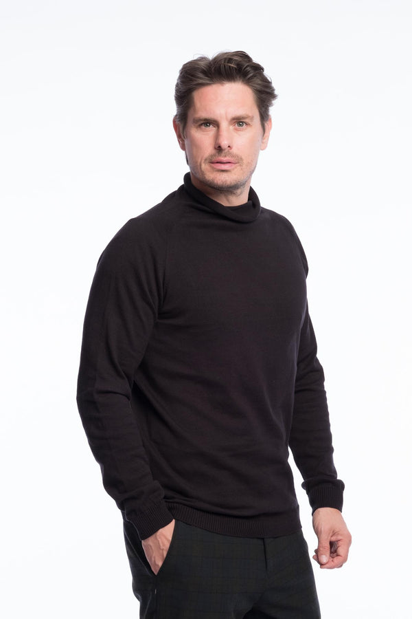 Turtleneck Knit Organic Cotton | Deep black